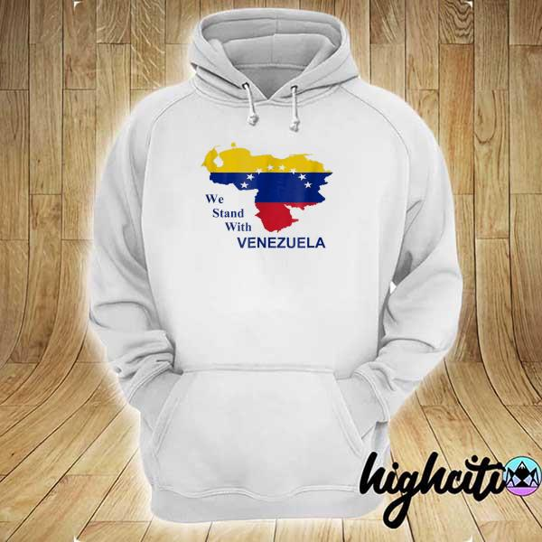 Awesome we stand with venezuela support flag country map hoodie