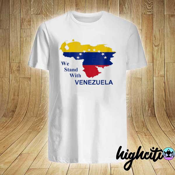Awesome we stand with venezuela support flag country map shirt