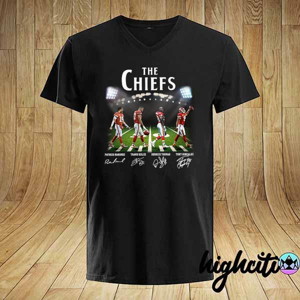 Original the chiefs patrick mahomes travis kelce derrick thomas tony gonzalez signatures shirt