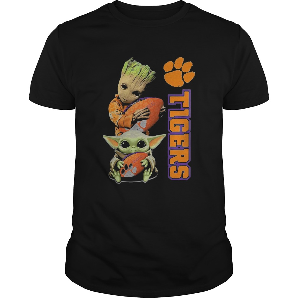 Baby Groot And Baby Yoda Hug Clemson Tigers  Unisex