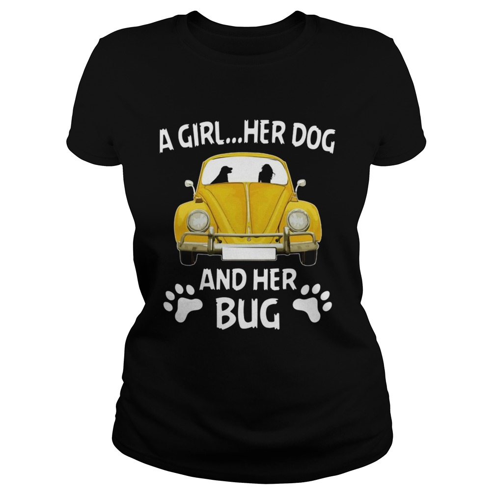 A Girl Her Dog And Her Bug Volkswagen Beetle  Classic Ladies