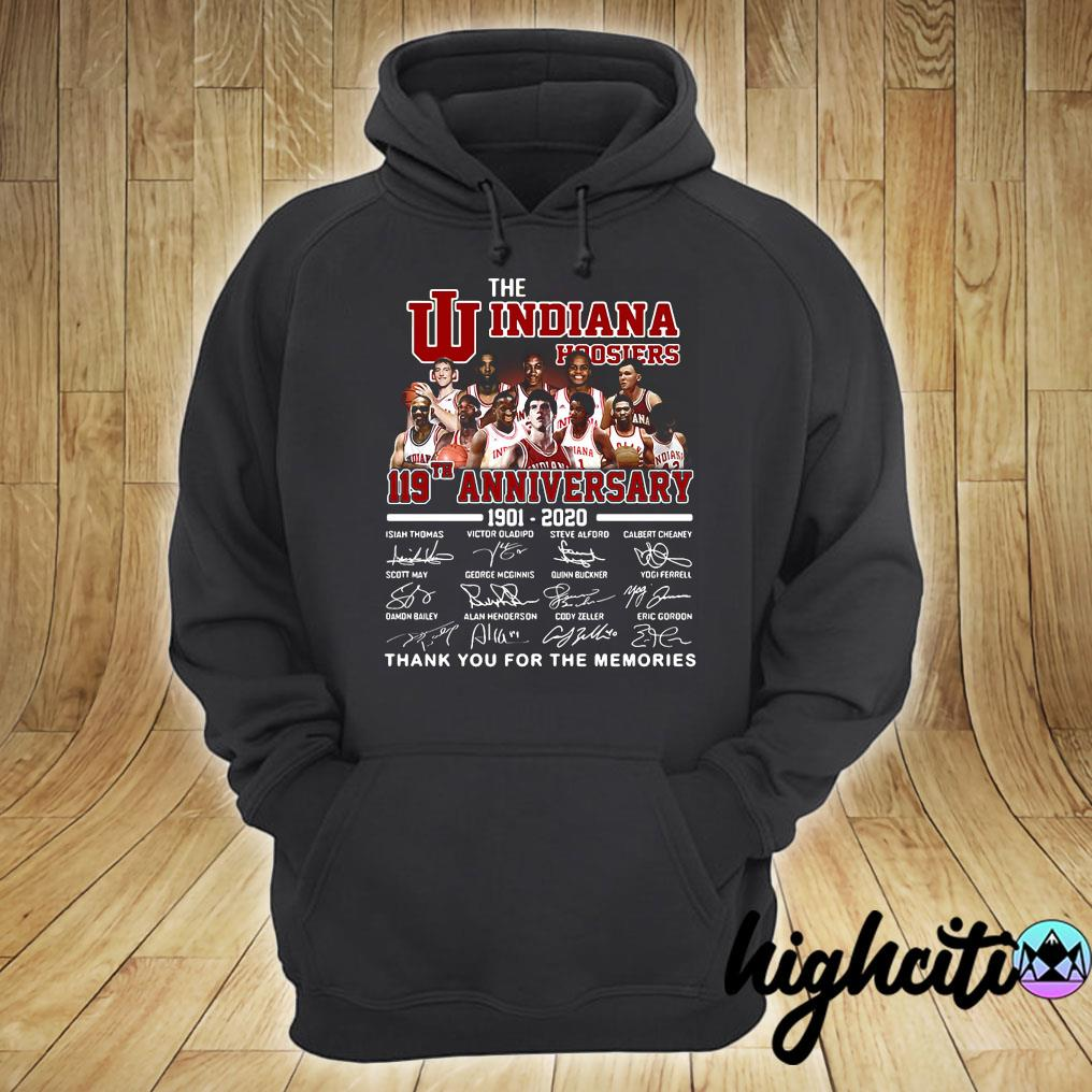 The Indiana Hoosiers 119th Anniversary 1901-2020 Signatures Thank You For The Memories Shirt hoodie