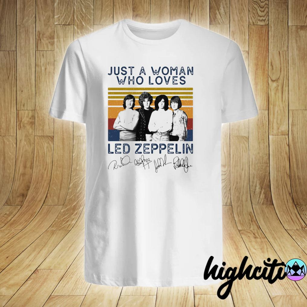 Just A Woman Who Loves Led Zeppelin Signature Vintage Retro Shirt