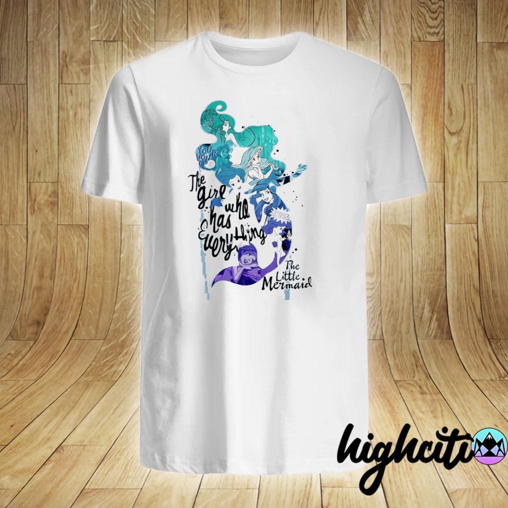 Disney little mermaid ariel silhouette build up fill retro t-shirt