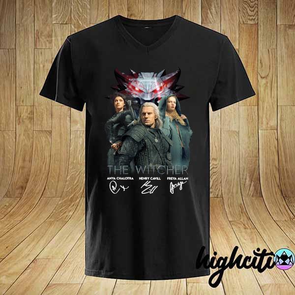 The Witcher Anya Chalotra Henry Cavill Freya Allan Signatures Shirt