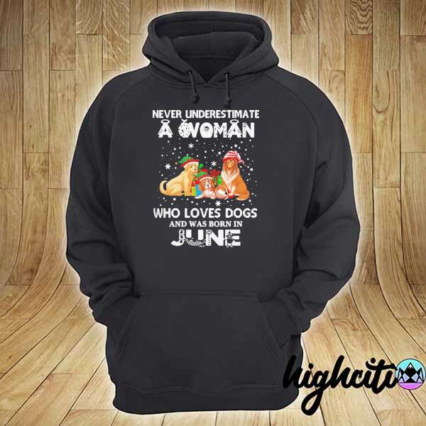 Never Understimate A Woman Who Loves Dogs And Was Born In June Shirt hoodie