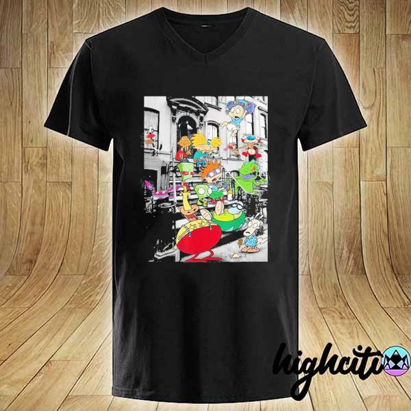 Nickelodeon Classic Nicktoons Hanging On Stoop 2020 T-s V-neck