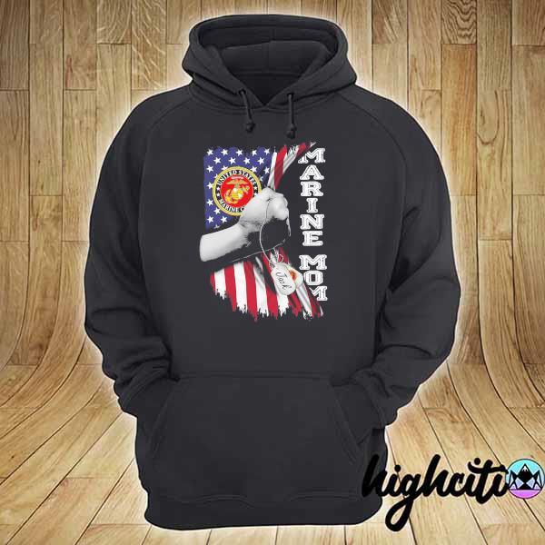 Awesome marine mom american flag sweats hoodie