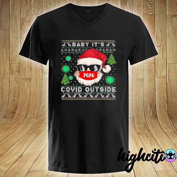 Official baby it s c o v i d outside santa ugly christmas sweats V-neck