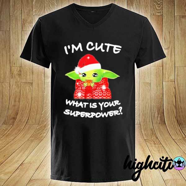 Premium baby yoda i'm cute what is your superpower christmas sweats V-neck