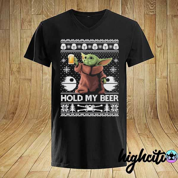 Premium hold my beer baby yoda ugly christmas sweater