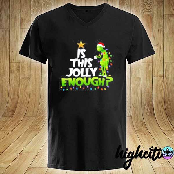 2020 grinch is this jolly enough noel merry christmas youth sweats V-neck