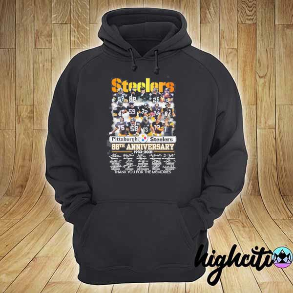 2020 pittsburgh steelers 88th anniversary 1933 - 2021 all players signatures thank you for the memories s hoodie