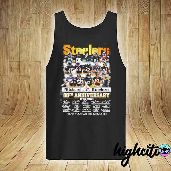 2020 pittsburgh steelers 88th anniversary 1933 - 2021 all players signatures thank you for the memories s tank-top