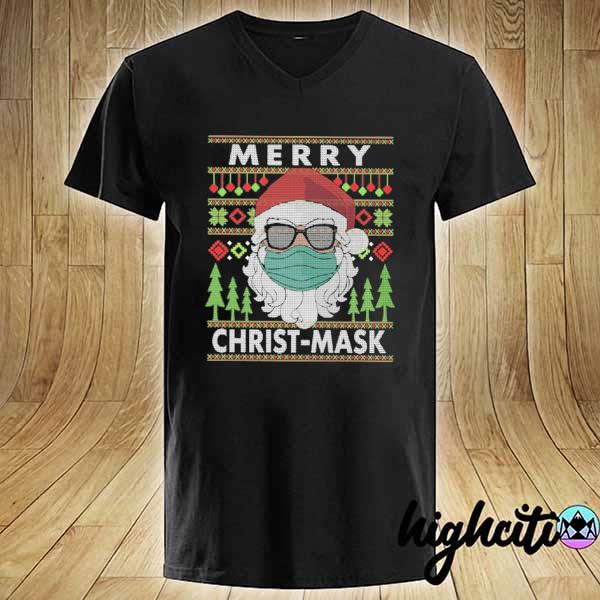 Premium santa claus face mask merry christ-mask xmas ugly sweats V-neck