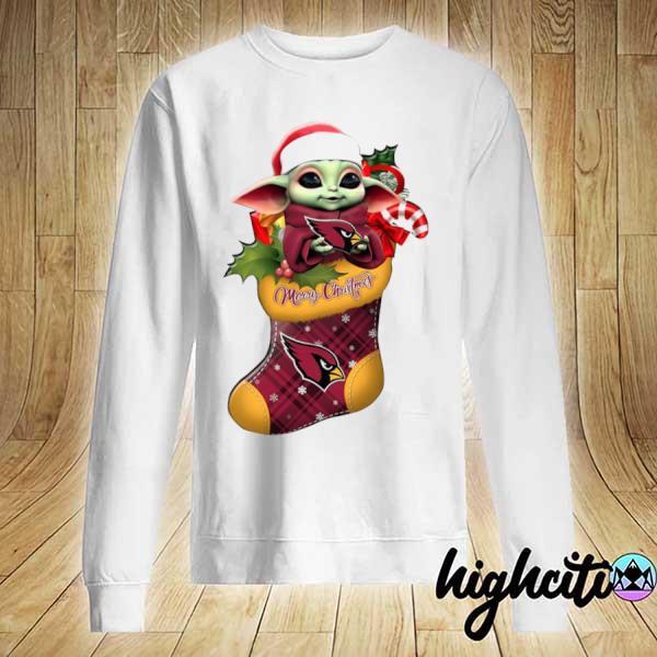 2020 baby yoda hug arizona cardinals ornament merry christmas 2020 s Sweater