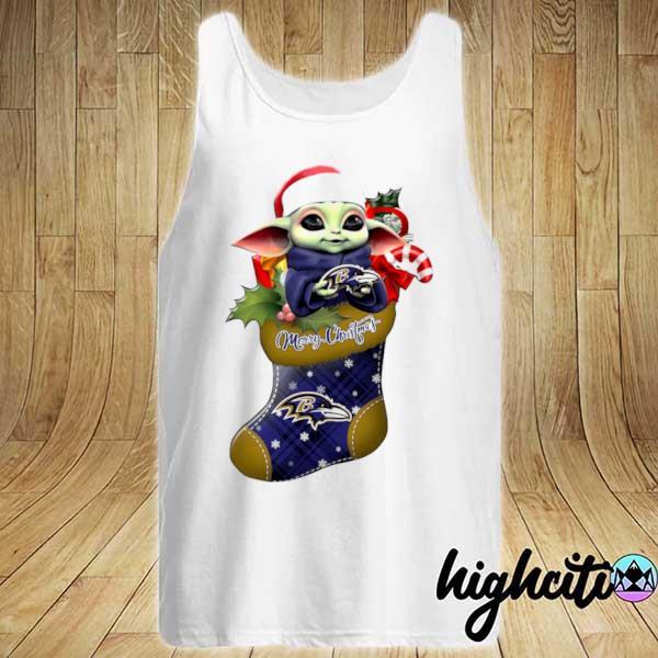 2020 baby yoda hug baltimore ravens ornament merry christmas 2020 s Tank-top